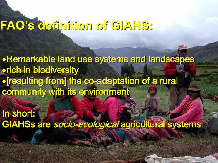 FAO's definition of GIAHS: