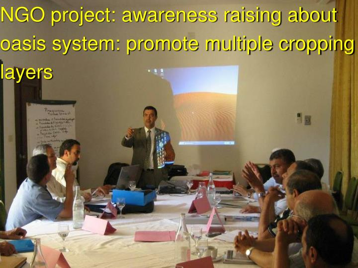 NGO project: awareness raising about oasis system: promote multiple cropping layers