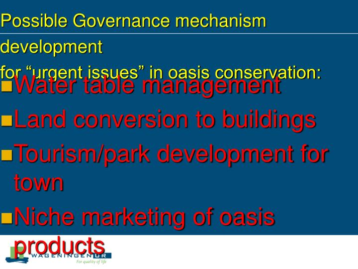 Possible Governance mechanism development