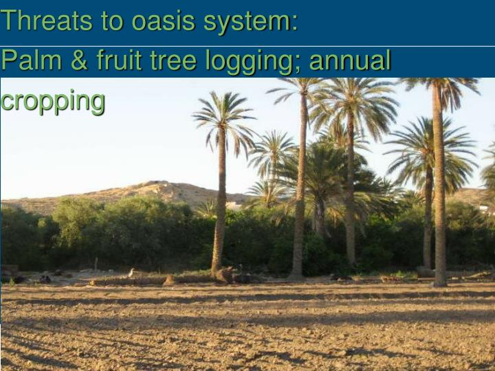 Threats to oasis system: