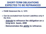 short term obligations expected to be refinanced