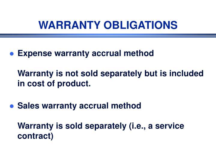 WARRANTY OBLIGATIONS