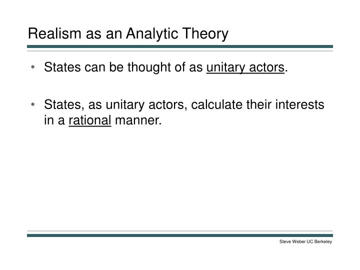 Realism as an Analytic Theory