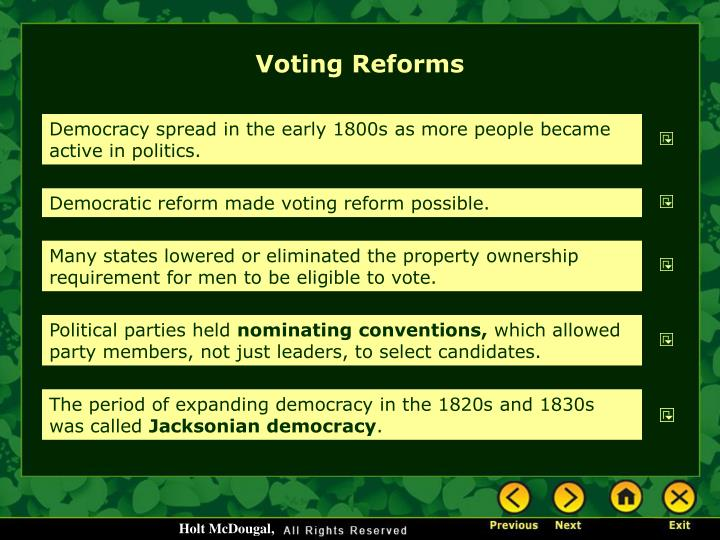 Voting Reforms
