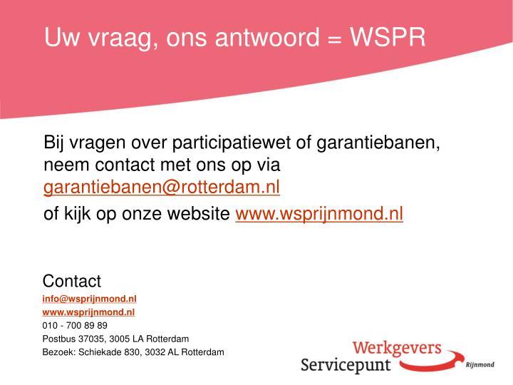 Uw vraag, ons antwoord = WSPR