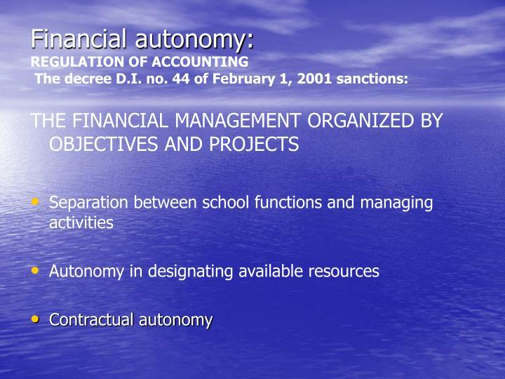 Financial autonomy: