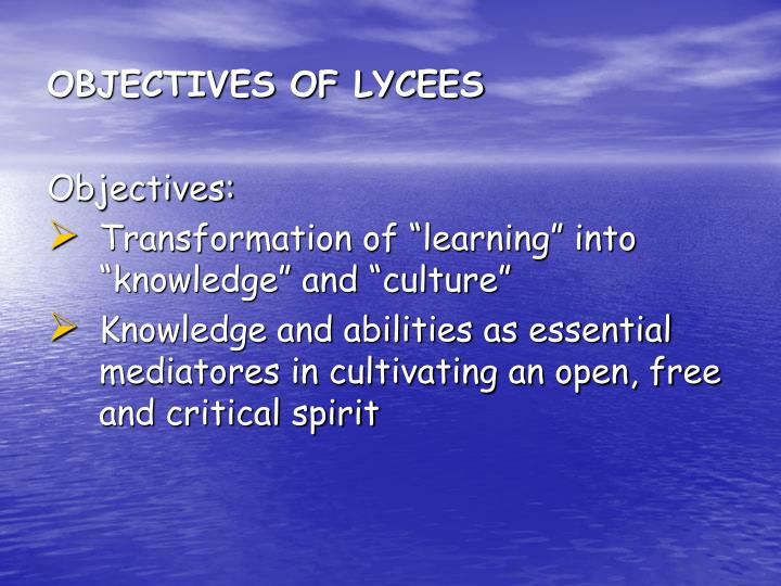 OBJECTIVES OF LYCEES