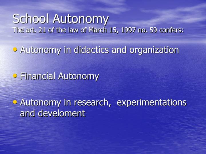 School Autonomy