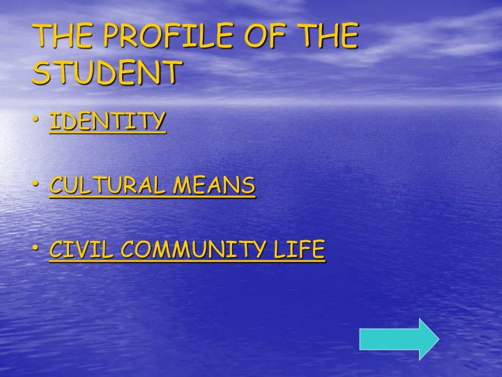 THE PROFILE OF THE STUDENT
