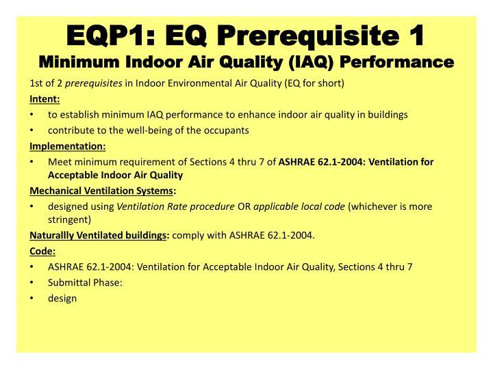 EQP1: EQ Prerequisite 1