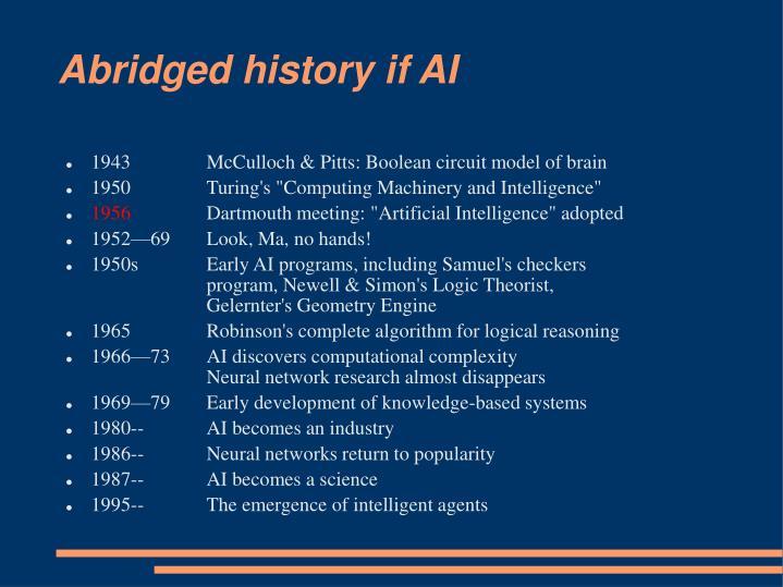 Abridged history if AI