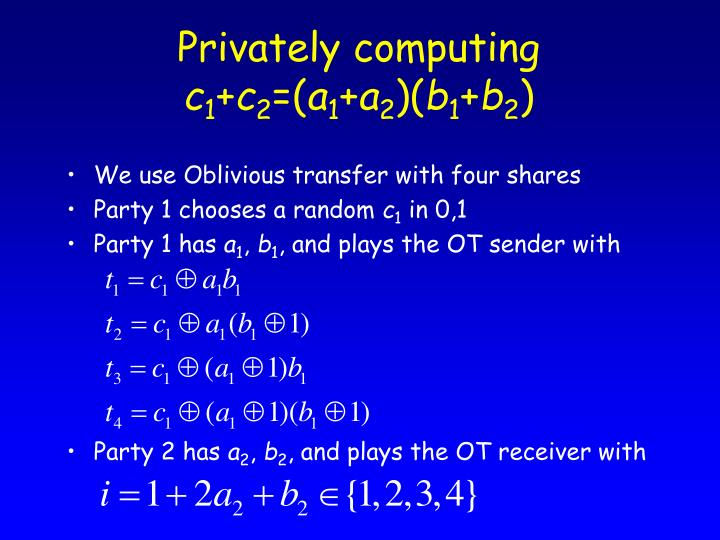 Privately computing