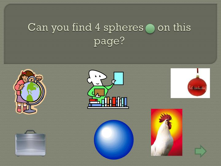 Can you find 4 spheres     on this page?