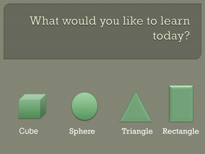 What would you like to learn today