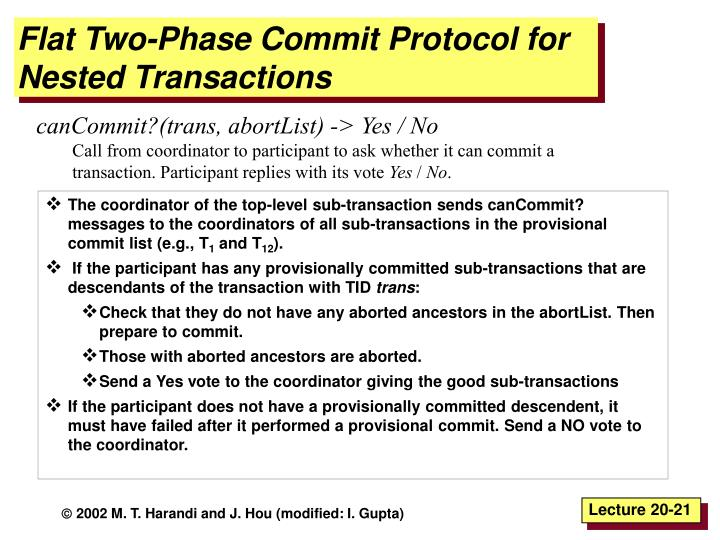 Flat Two-Phase Commit Protocol for Nested Transactions