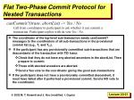 flat two phase commit protocol for nested transactions