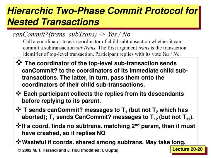 Hierarchic Two-Phase Commit Protocol for