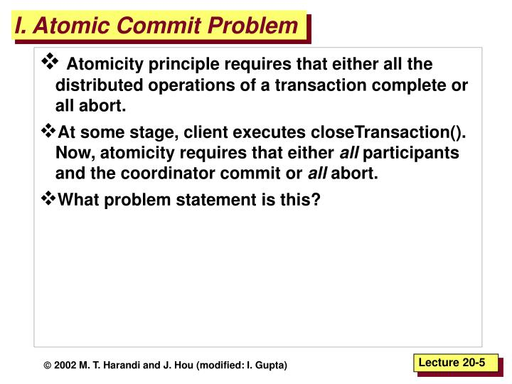 I. Atomic Commit Problem