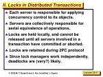 ii locks in distributed transactions
