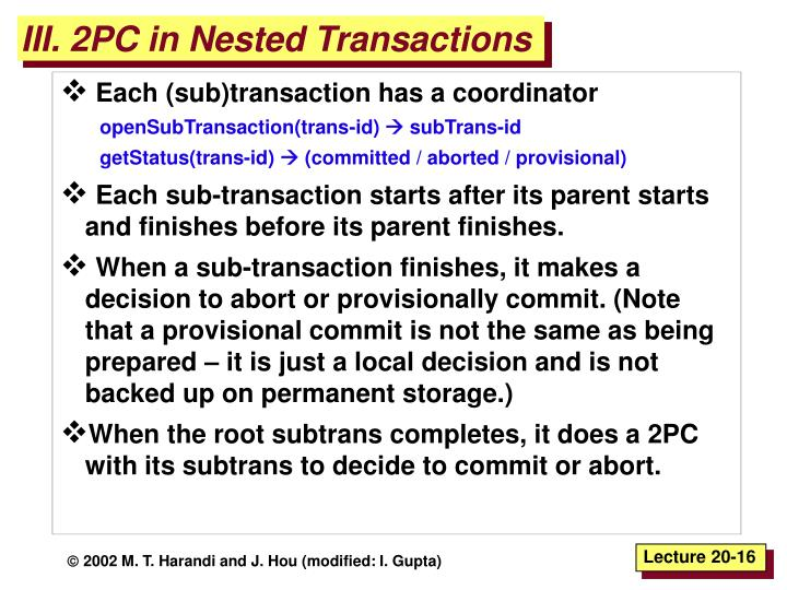 III. 2PC in Nested Transactions