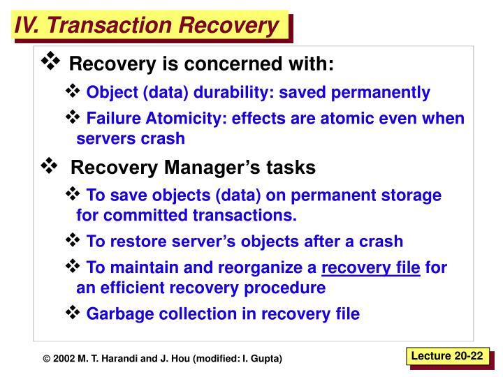 IV. Transaction Recovery