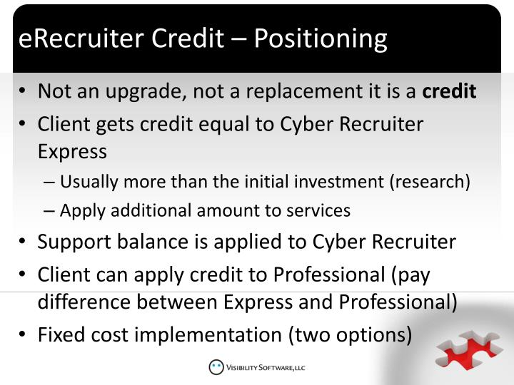 eRecruiter Credit – Positioning