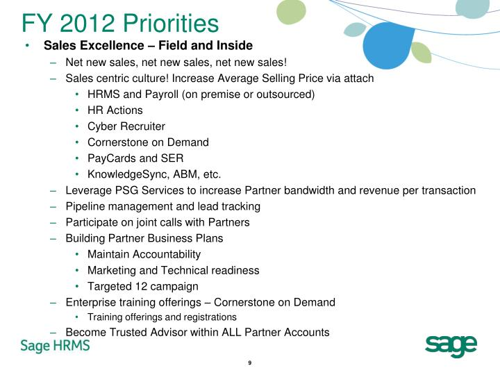 FY 2012 Priorities