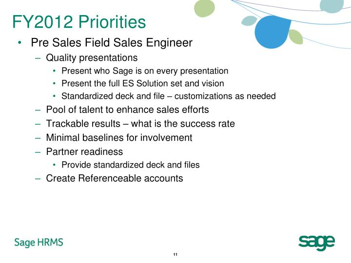 FY2012 Priorities