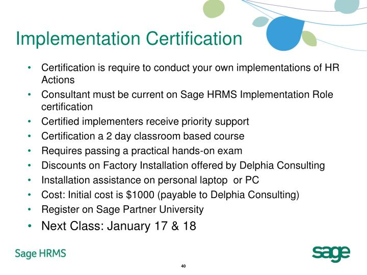 Implementation Certification