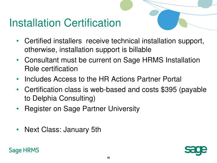 Installation Certification