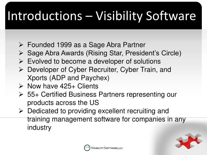 Introductions – Visibility Software