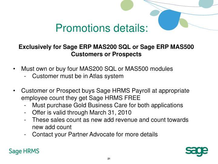 Promotions details: