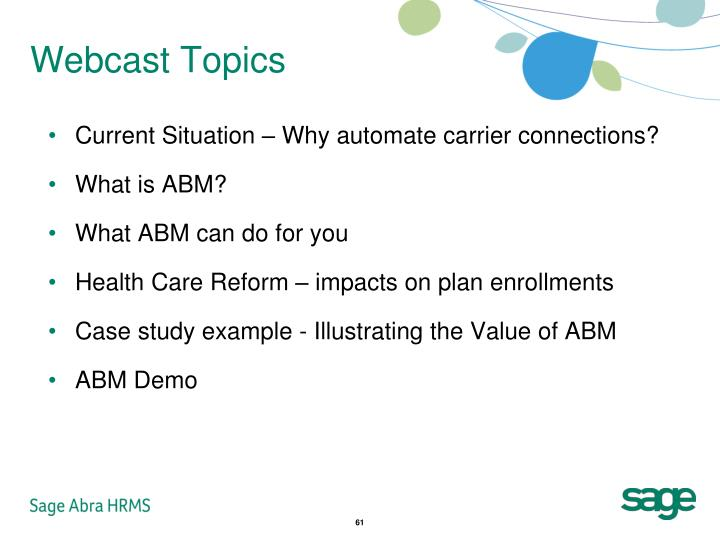 Webcast Topics