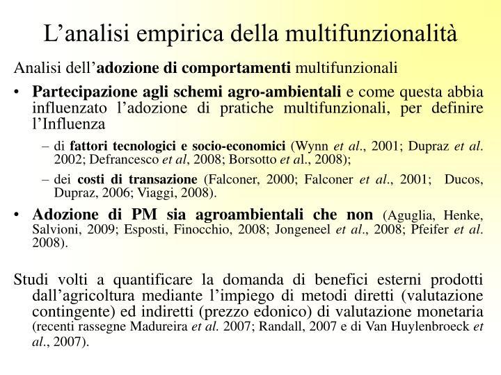 L'analisi empirica della multifunzionalità