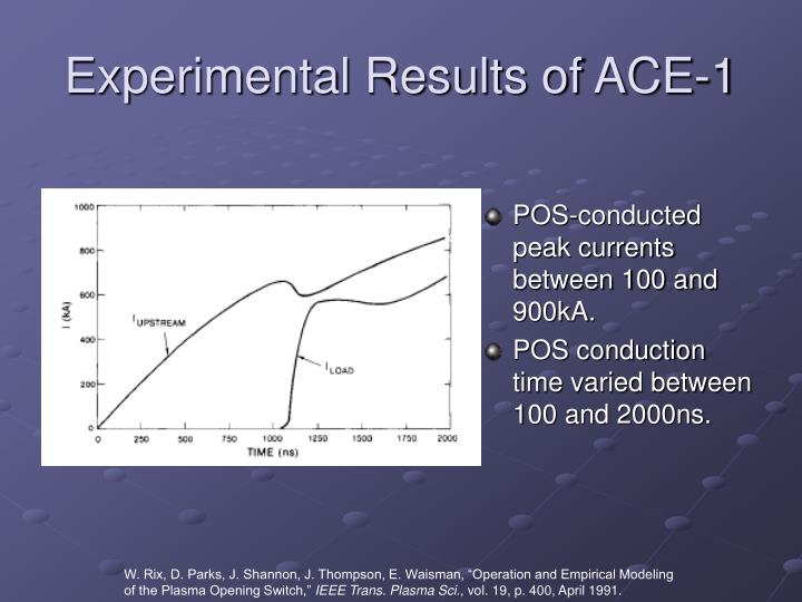 Experimental Results of ACE-1