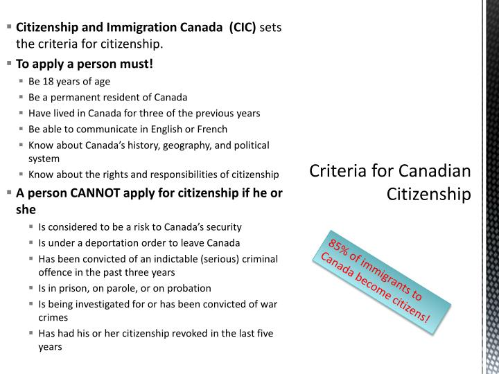 Criteria for canadian citizenship