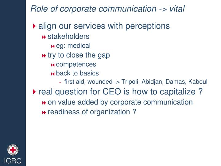 Role of corporate communication -> vital