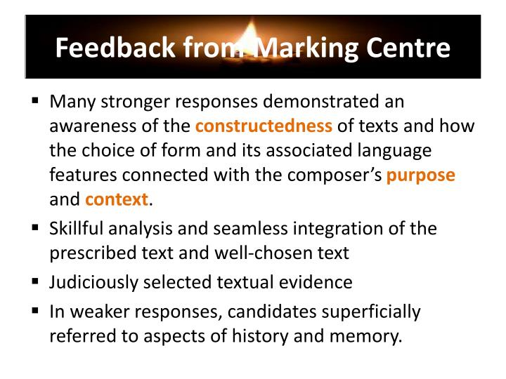 Feedback from Marking Centre