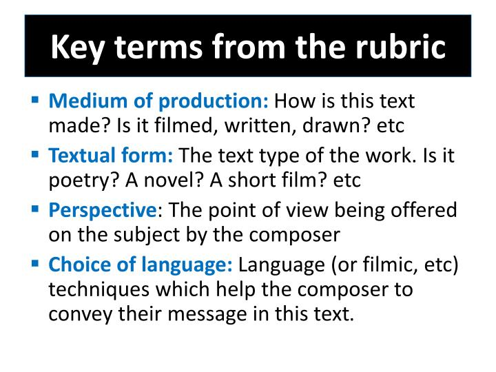Key terms from the rubric