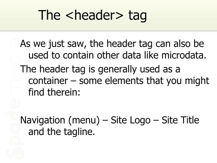 The <header> tag