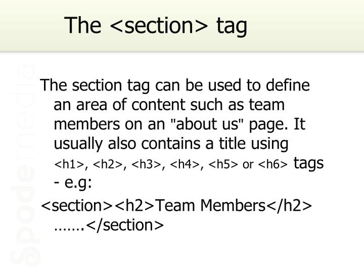 The <section> tag