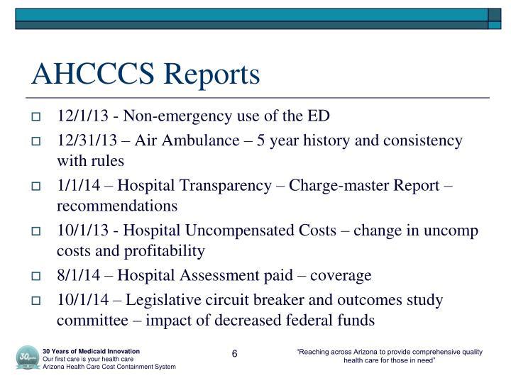 AHCCCS Reports