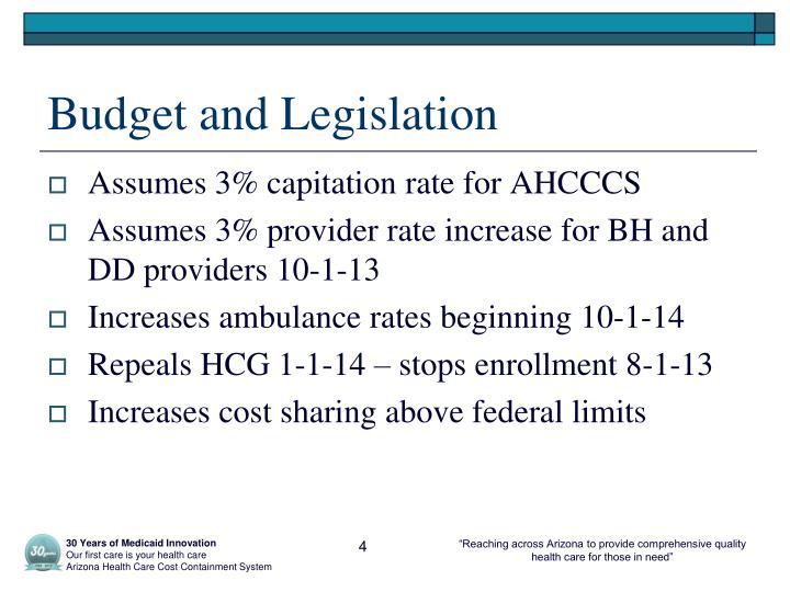 Budget and Legislation