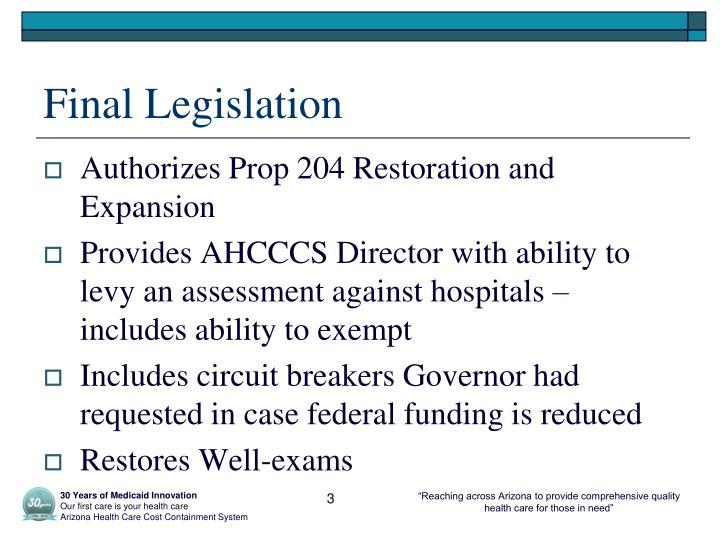 Final Legislation