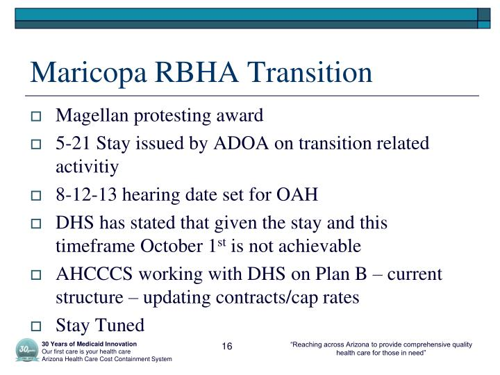 Maricopa RBHA Transition