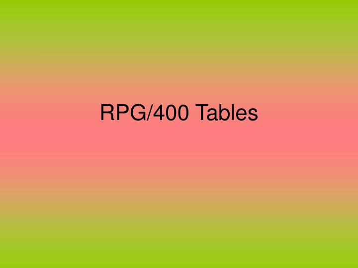 Rpg 400 tables