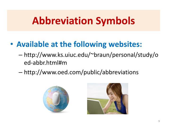 Abbreviation Symbols