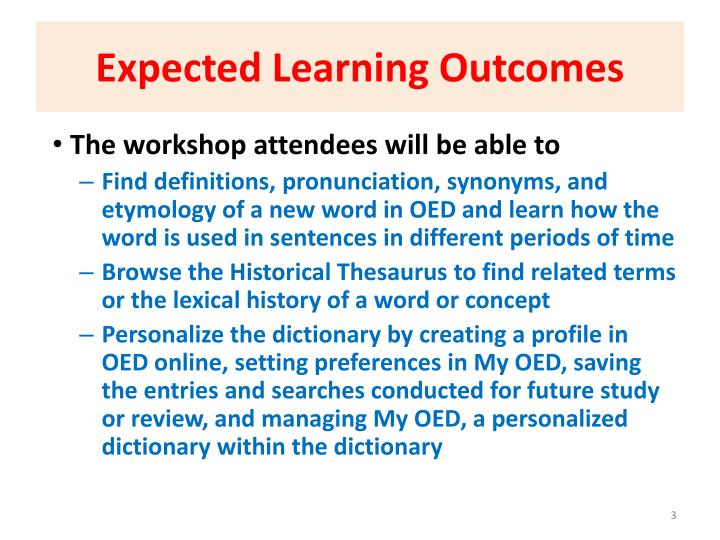 Expected learning outcomes