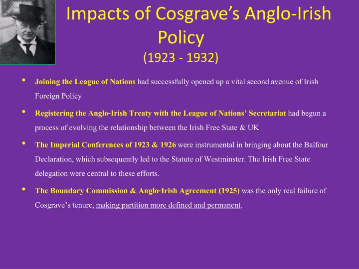 Impacts of Cosgrave's Anglo-Irish Policy