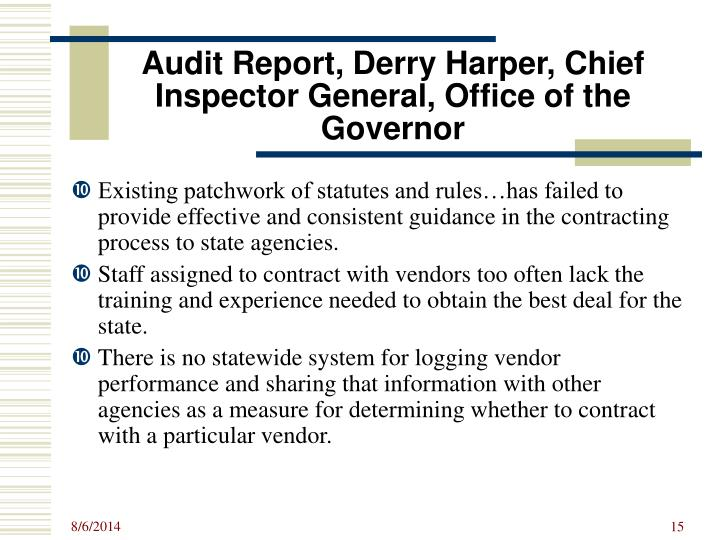 Audit Report, Derry Harper, Chief Inspector General, Office of the Governor